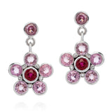 Earrings in Pink Sapphire, Ruby and Diamond