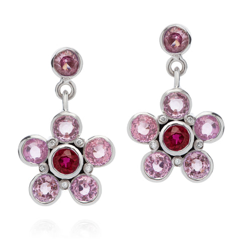 pink sapphire ruby diamond earrings