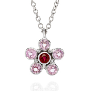 pink sapphire ruby and diamond necklace