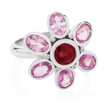 Load image into Gallery viewer, pink sapphire ruby diamond ring