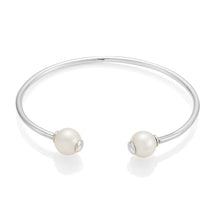 Load image into Gallery viewer, Double Pearl Silver Bangle