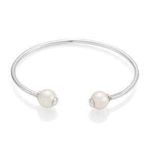 Double Pearl Silver Bangle
