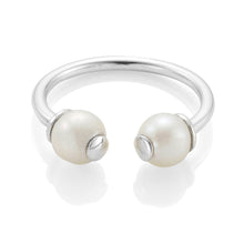 Load image into Gallery viewer, Double Pearl Silver Ring