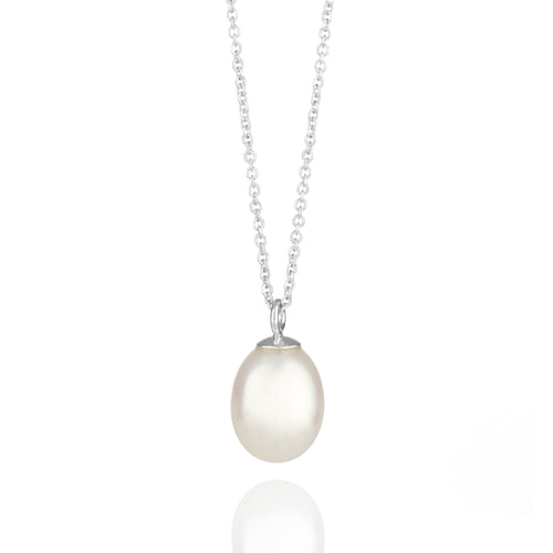 Pearl Drop White Gold Necklace