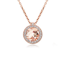 Load image into Gallery viewer, Rose Gold Morganite Halo Necklace