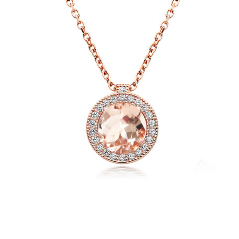18ct Rose Gold Morganite Halo Necklace