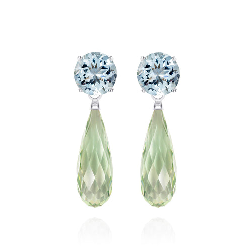 Green Amethyst & Aquamarine Silver Earrings | The Como Collection | Augustine Jewels