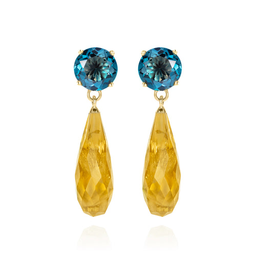 Teal Topaz & Citrine Gold Earrings | The Como Collection | Augustine Jewels