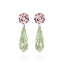 Load image into Gallery viewer, Green Amethyst & Morganite Silver Earrings | The Como Collection | Augustine Jewels
