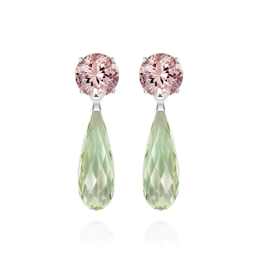 Green Amethyst & Morganite Silver Earrings | The Como Collection | Augustine Jewels