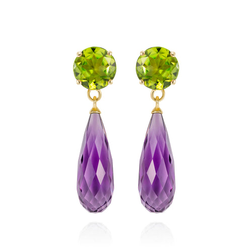 Purple Amethyst & Peridot Gold Earrings | The Como Collection | Augustine Jewels