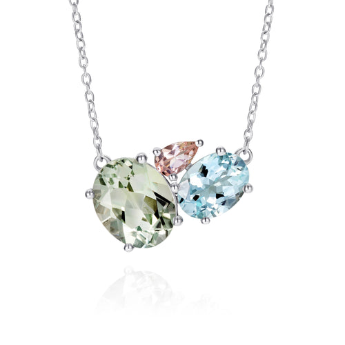 Green Amethyst Silver Gemstone Necklace | The Como Collection | Augustine Jewels