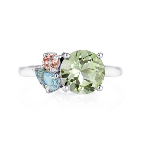 Green Amethyst Silver Gemstone Ring | The Como Collection | Augustine Jewels