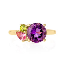 Load image into Gallery viewer, Gold Amethyst Gemstone Ring | The Como Collection | Augustine Jewels