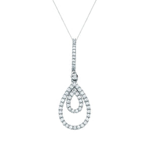 Drop Diamond Pendant on White Gold Chain | The Diamond Collection | Augustine Jewels