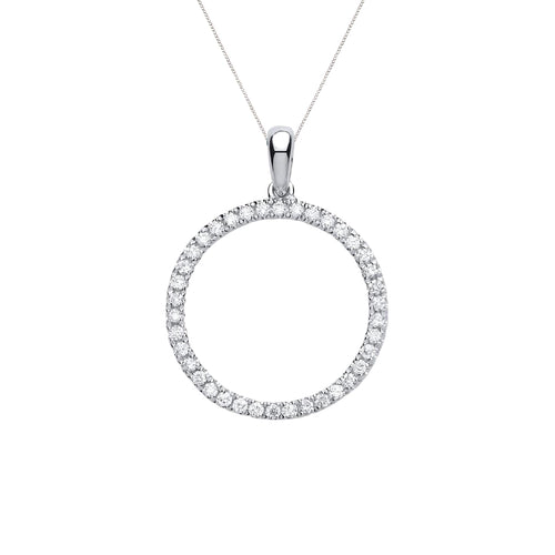 Circle Diamond Pendant on White Gold Chain | The Diamond Collection | Augustine Jewels