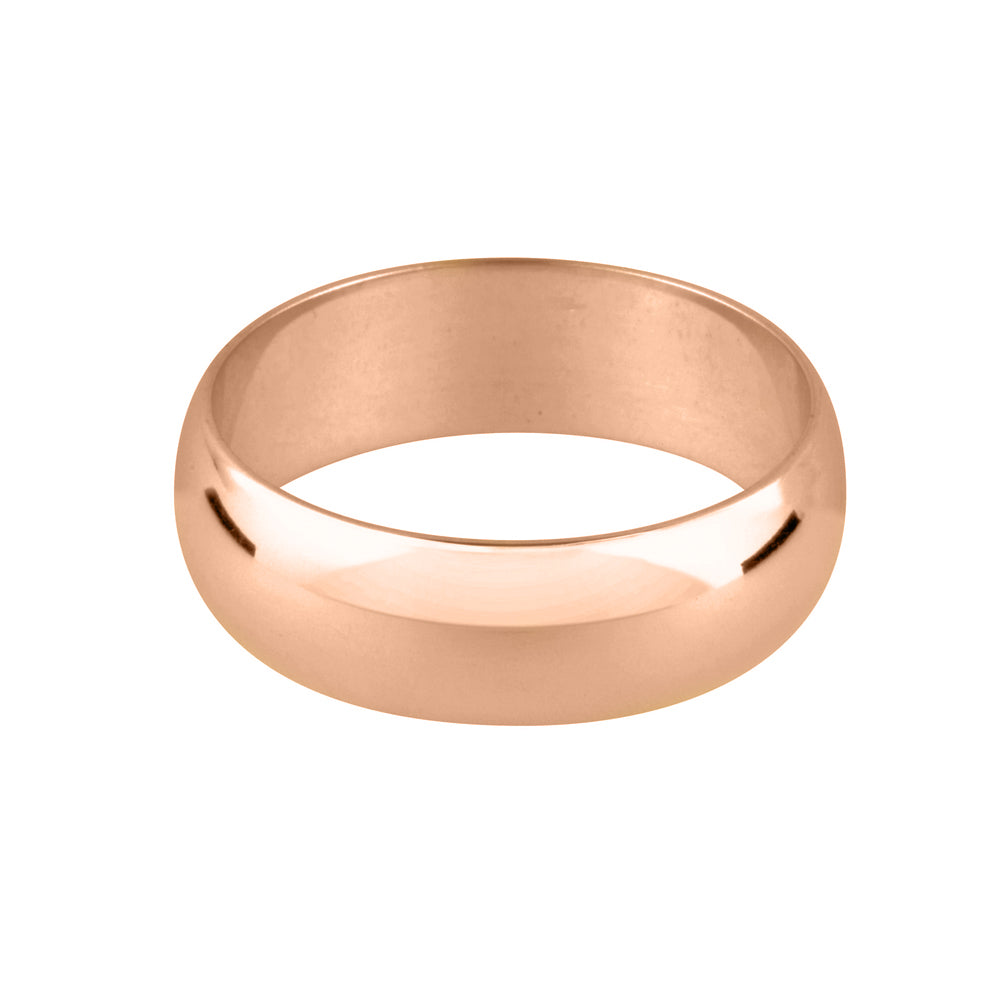 18ct Rose Gold D Shape Wedding Band