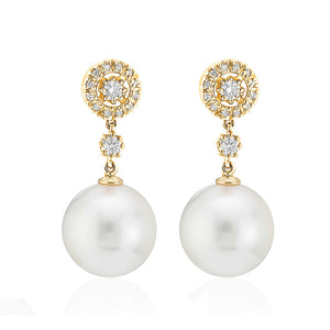 Yellow Gold Pearl & Diamond Drop Earrings