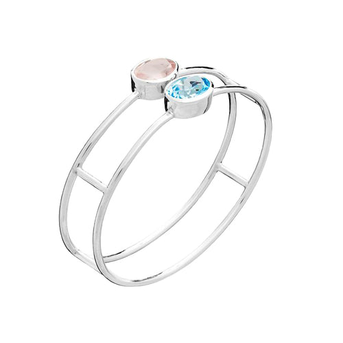 Sky Blue Topaz & Rose Quartz Bangle | The South of France Collection | Augustine Jewels | Luxury silver bangle