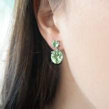 Load image into Gallery viewer, Green Amethyst Drop Earrings
