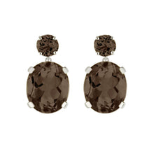 Load image into Gallery viewer, Smoky Quartz Drop Earrings
