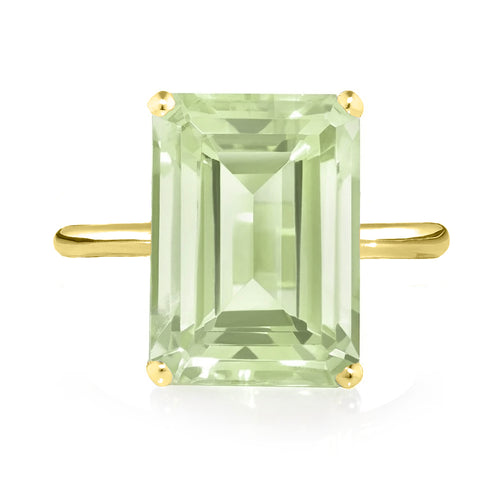 Green Amethyst Ring - Yellow Gold