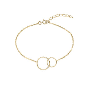 Geometric Double Circle Bracelet (Yellow Gold)
