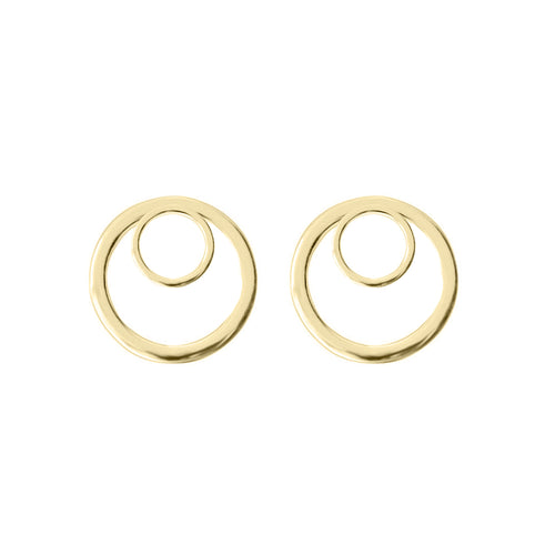 Geometric Double Circle Stud Earrings (Yellow Gold)