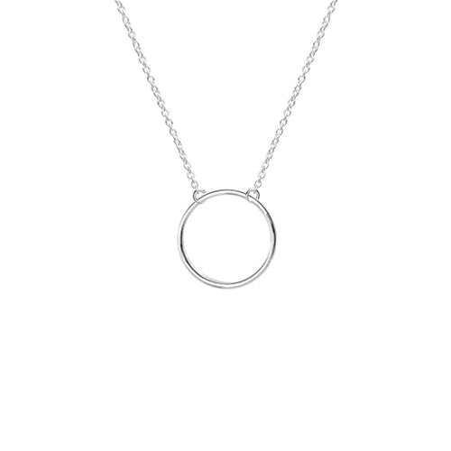 Geometric Circle Necklace (Silver)