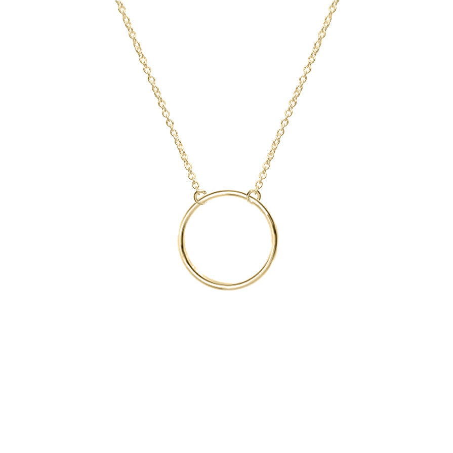 Geometric Circle Necklace (Yellow Gold)