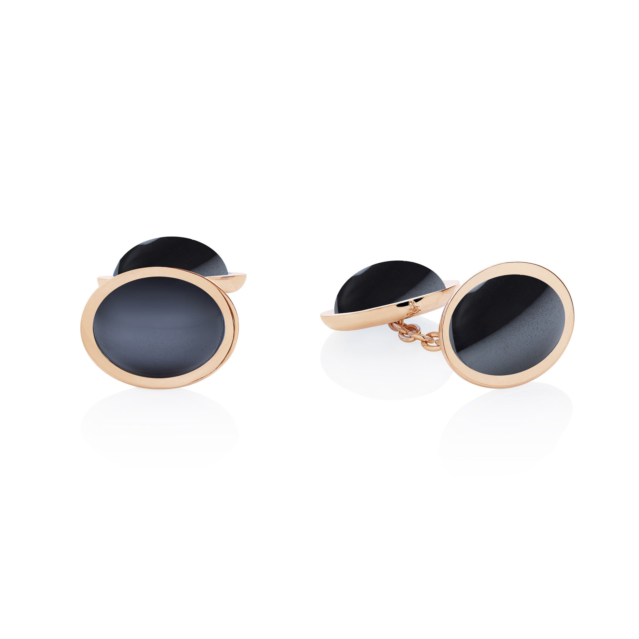 Hematite 18ct Yellow Gold Double Cufflinks