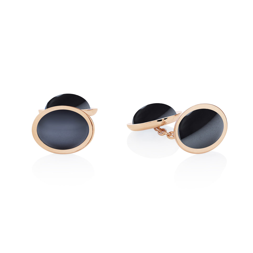 hematite yellow gold cufflinks