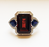 Garnet and Sapphire Cocktail Ring, with Diamonds