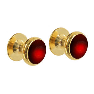 18ct Gold Men's Shirt Studs with Garnet | Augustine Jewels | Luxury Cufflinks and Shirt Studs