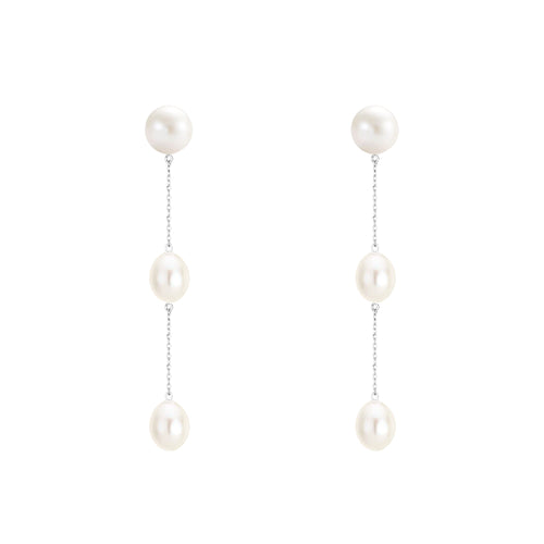 White Gold Pearl Drop Earrings