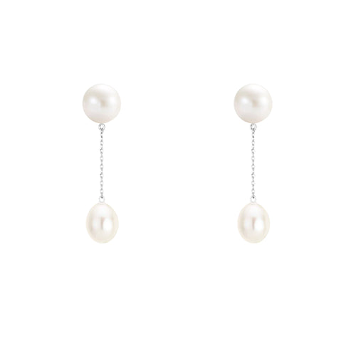 White Gold Pearl Drop Earrings (2 Drop)