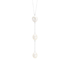 White Gold Pearl Drop Necklace