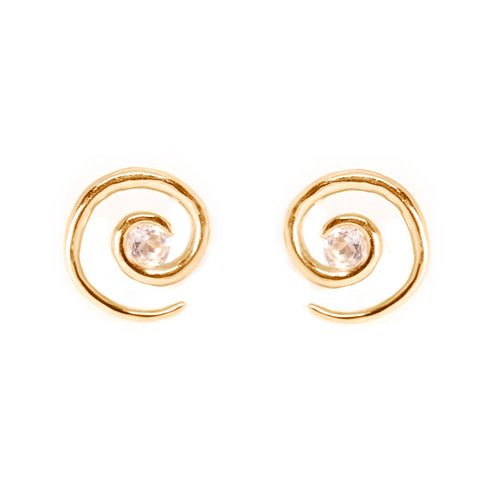 Rose Gold Morganite Spiral Earrings