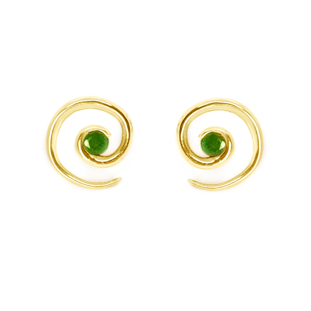 Yellow Gold Emerald Spiral Earrings