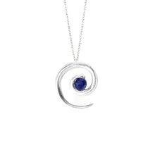 Load image into Gallery viewer, Silver Sapphire Spiral Pendant