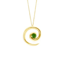 Load image into Gallery viewer, Yellow Gold Emerald Spiral Pendant