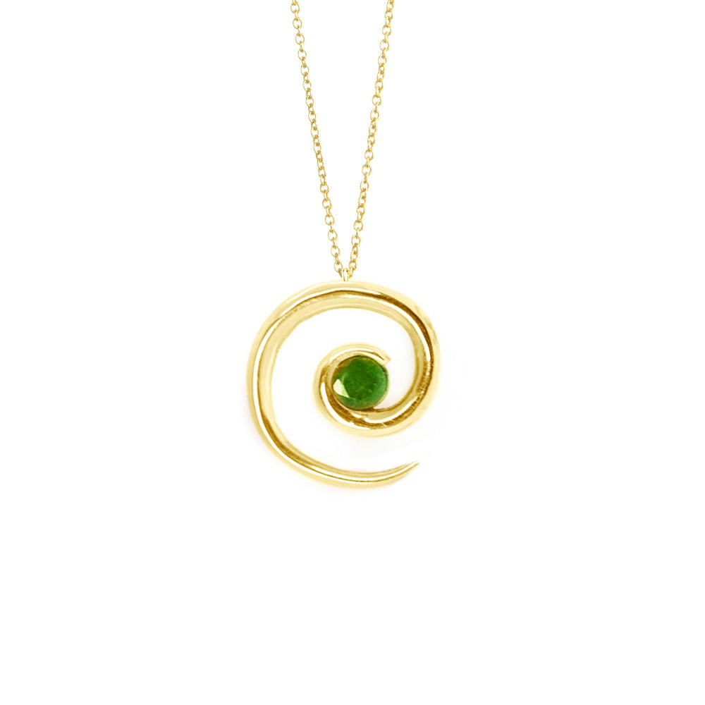 Yellow Gold Emerald Spiral Pendant