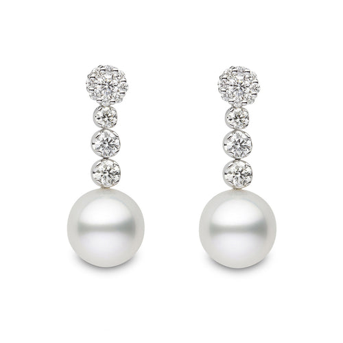 White Gold Pearl & Diamond Drop Earrings