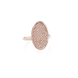 Rose Gold Diamond Pavé Oval Ring