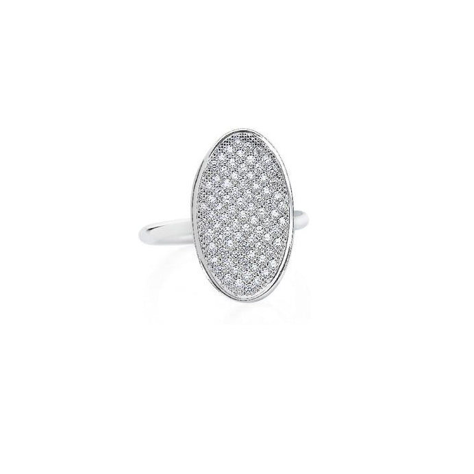 White Gold Diamond Pavé Oval Ring