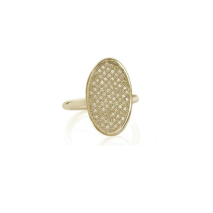 Yellow Gold Diamond Pavé Oval Ring