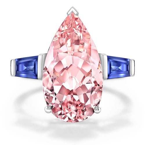 Morganite Ring with Sapphire Baguettes