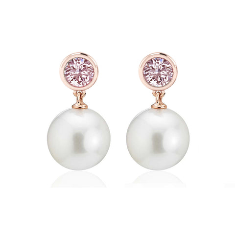 Rose Gold Morganite and Pearl Drop Earrings