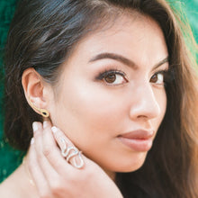 Load image into Gallery viewer, Model wearing gold snake earrings | Augustine Jewels