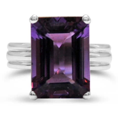 Amethyst, 18ct White Gold 3-Band Ring